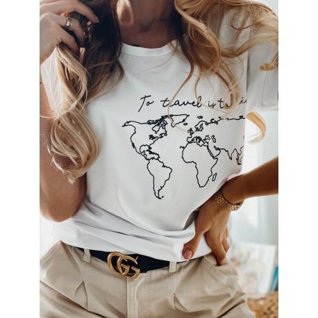T-shirt Travel white map